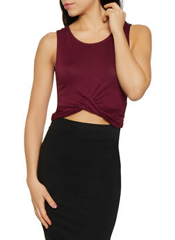 Cropped Twist Front Tank Top - 1012054260929