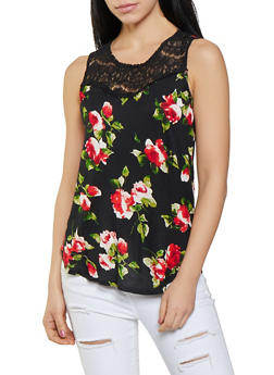 Lace Yoke Floral Tank Top - 1012054260981
