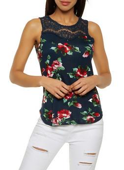 Lace Yoke Floral Tank Top - 1012054260981