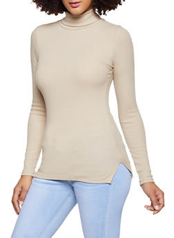 Ribbed Turtleneck Top - 1012054263397