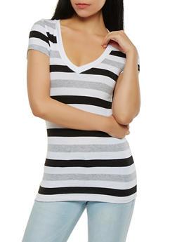 Striped V Neck Tee - 1012054264602