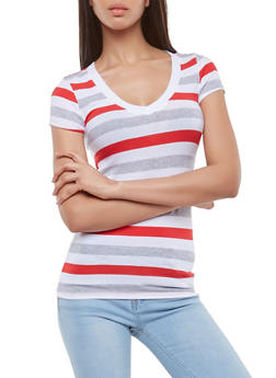 Striped V Neck Tee - 1012054264602