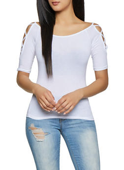 44531b106fe4 Caged Sleeve Off the Shoulder Tee - 1012054265881