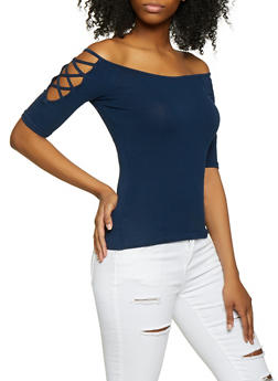 Caged Sleeve Off the Shoulder Tee - 1012054265881