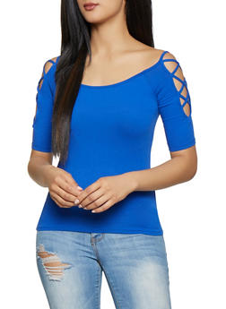 5e579445fd28d Caged Sleeve Off the Shoulder Tee - 1012054265881