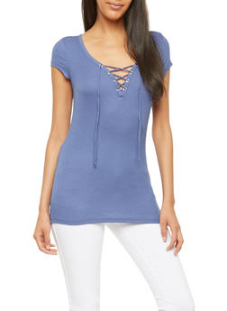 Ribbed Knit Lace Up Basic Top - 1012054269372