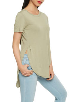 Side Slit Basic T Shirt - 1012054269413