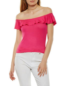 Basic Ribbed Knit Off the Shoulder Top - 1012054269510