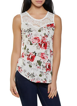 Floral Lace Yoke Tank Top - 1012054269812