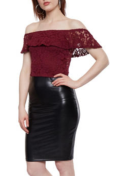 Lace Off the Shoulder Crop Top - 1012054269898