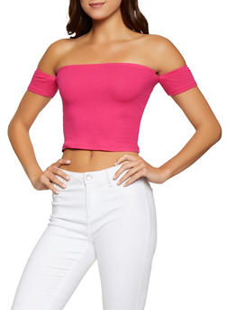 Ribbed Knit Off the Shoulder Crop Top - 1012054269900
