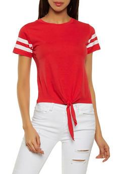 Varsity Stripe Tie Front Tee - 1013033870044