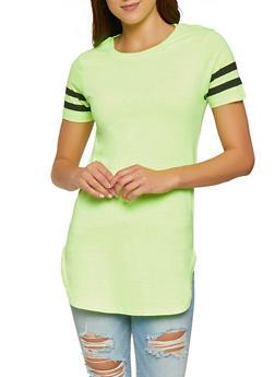 Varsity Stripe Sleeve Tunic Tee - 1013033875531
