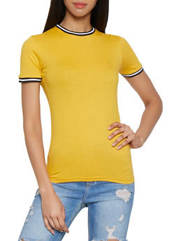 Ribbed Knit Trim Tee - 1013033876112