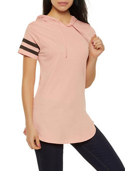 Varsity Stripe Hooded Tunic Tee - 1013033878791