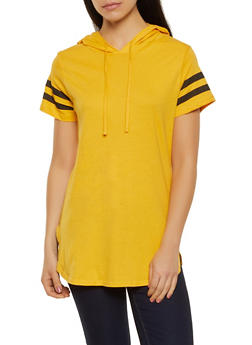 Varsity Stripe Hooded Tunic Tee - 1013033878791