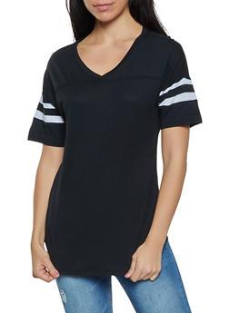 Varsity Stripe V Neck Tee - 1013054260502