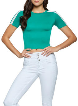 Striped Sleeve Cropped Tee - 1013054260857