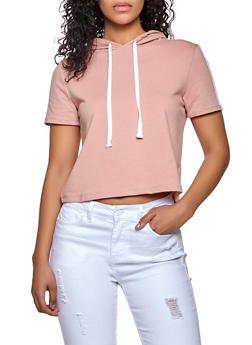 Varsity Stripe Sleeve Hooded Top - 1013054261024