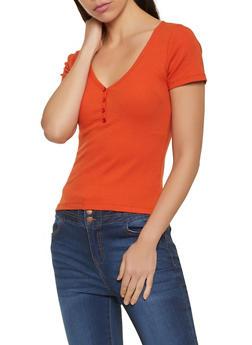 Short Sleeve Henley Top - 1013054262282