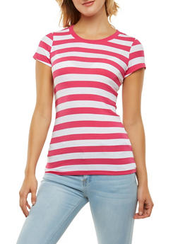 Striped Crew Neck Tee - 1013054264501
