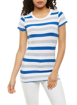 Striped Crew Neck Tee - 1013054264502