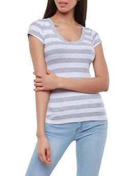 Striped V Neck Tee - 1013054264601