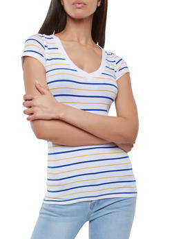 Striped V Neck Tee - 1013054264604