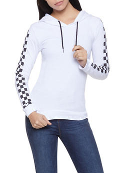 Checkered Sleeve Lightweight Sweatshirt - 1014033873771