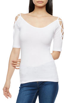 Caged Sleeve Basic Top - 1016054265881