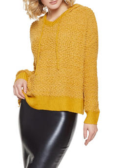 Textured Knit Hooded Sweater - 1020034280665