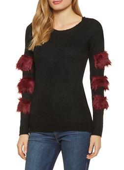 Faux Fur Trim Sweater - Black - Size S - 1020034280762