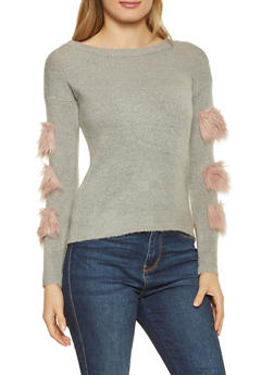 Faux Fur Trim Sweater - 1020034280762