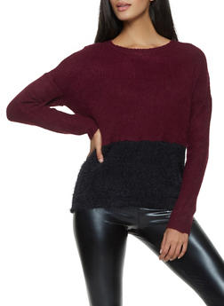 Feathered Knit Color Block Sweater - 1020034281183