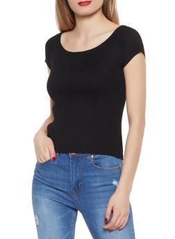 Short Sleeve Rib Knit Sweater - 1020034281192