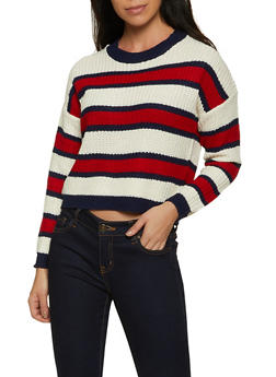 Striped Knit Long Sleeve Sweater - 1020034281302