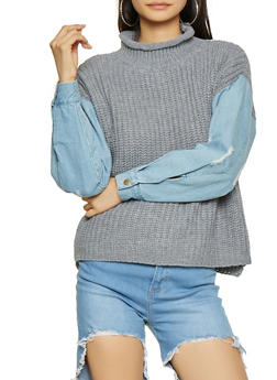 Distressed Denim Sleeve Knit Sweater - 1020034281431