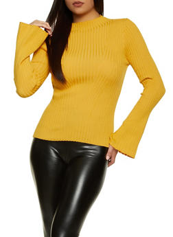 Bell Sleeve Ribbed Knit Sweater - 1020034281843