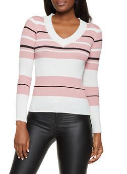 Long Sleeve Striped Rib Knit Sweater - 1020034281856