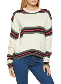 Striped Long Sleeve Crew Neck Sweater - 1020034282971