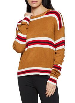 Striped Long Sleeve Crew Neck Sweater - 1020034282971