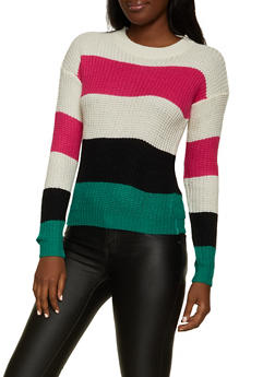 Crew Neck Striped Long Sleeve Sweater - 1020034282997