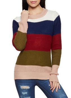 Crew Neck Striped Knit Sweater - 1020034283043