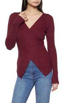 Criss Cross Rib Knit Sweater - 1020034284378