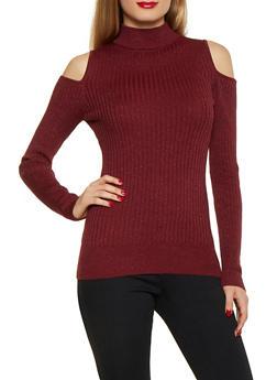 Shimmer Knit Cold Shoulder Sweater - 1020034284789