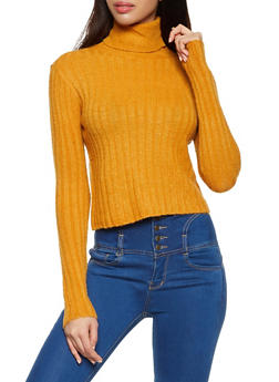 Cropped Rib Knit Turtleneck Sweater - 1020034284808