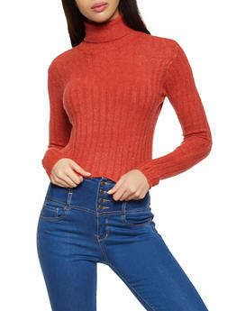 Cropped Rib Knit Turtleneck Sweater - 1020034284808