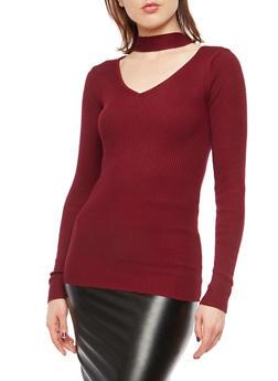 Rib Knit Choker Neck Sweater - 1020038340501