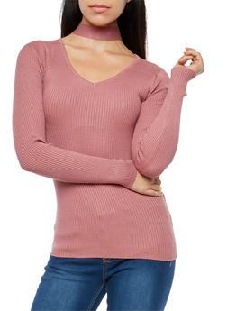 Rib Knit Choker Neck Sweater - 1020038340502