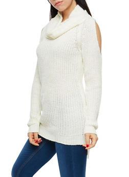 Cold Shoulder Turtleneck Sweater - 1020038347111